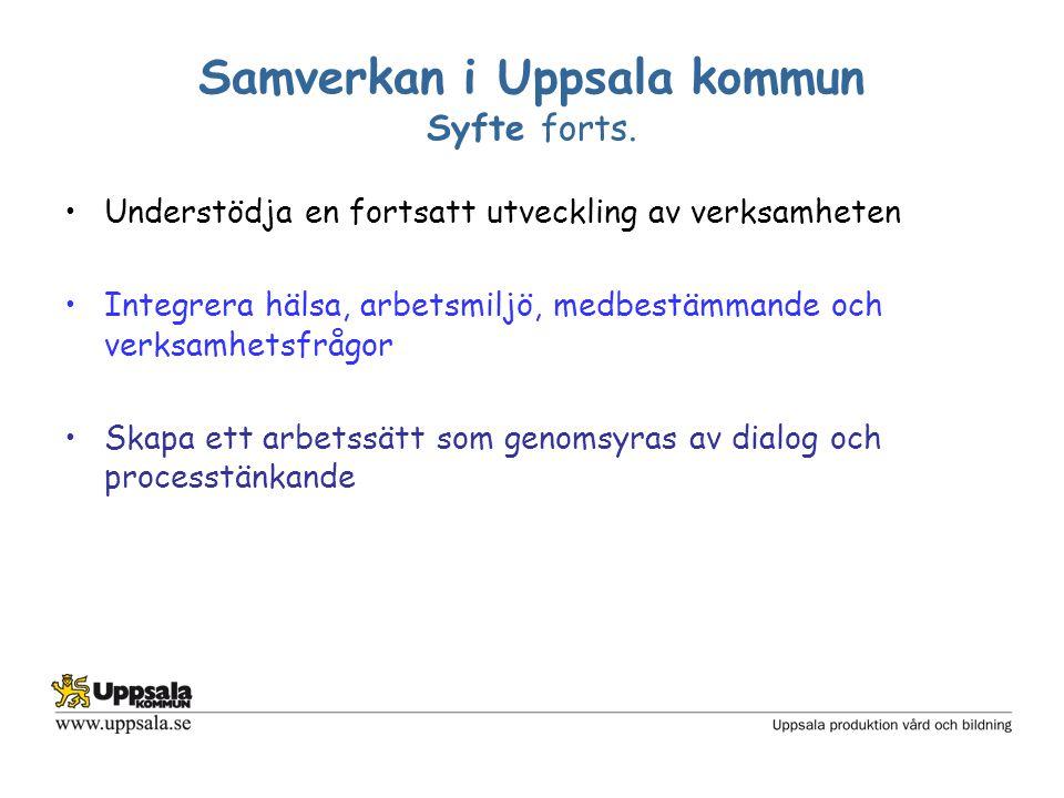 Samverkan i Uppsala kommun Syfte forts. Understödja en fortsatt utveckling av verksamheten Integrera hälsa, arbetsmiljö, medbestämmande och verksamhet
