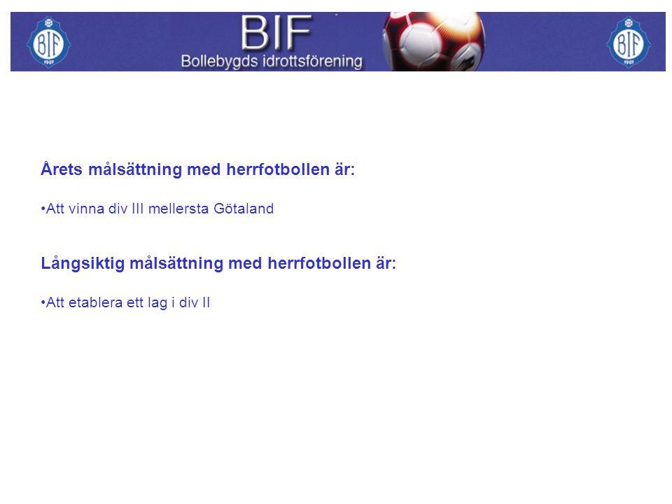 Årets målsättning med herrfotbollen är: Att vinna div III mellersta Götaland Långsiktig målsättning med herrfotbollen är: Att etablera ett lag i div II