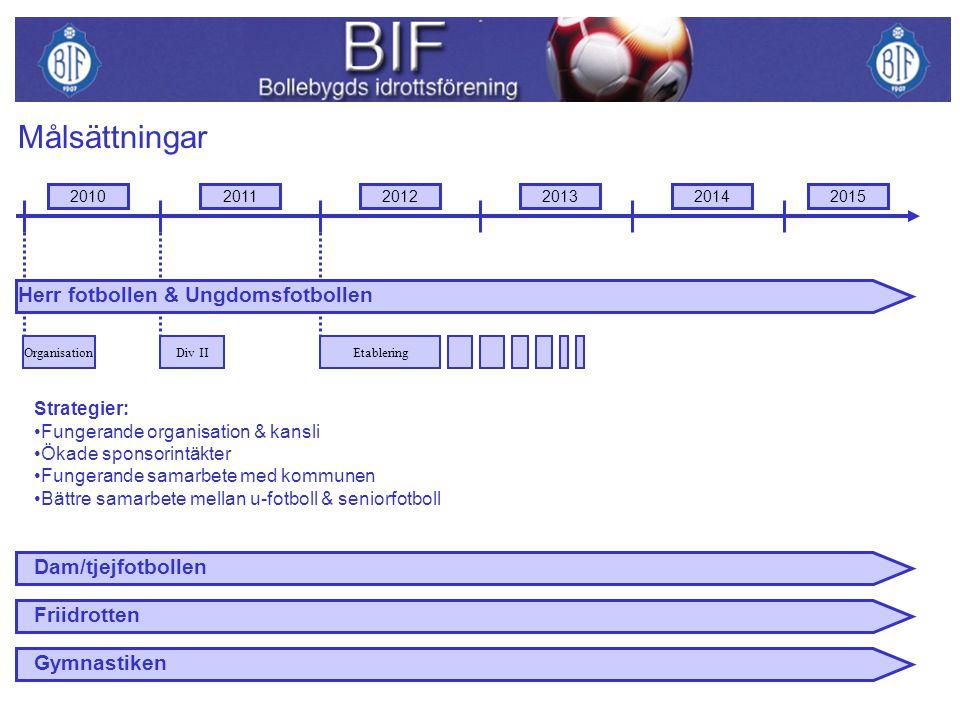 Årets målsättning med dam/tjejfotbollen är: Att ha ett damlag tillsammans med annan förening i Bollebygds kommun.