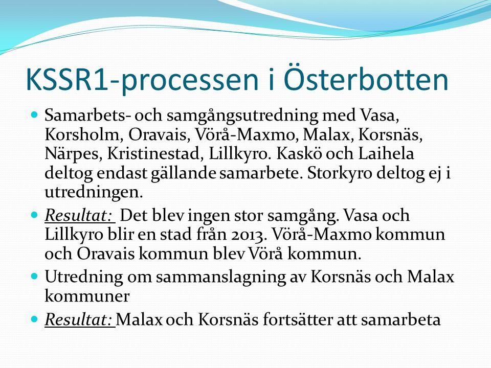 KSSR1-processen i Österbotten Samarbets- och samgångsutredning med Vasa, Korsholm, Oravais, Vörå-Maxmo, Malax, Korsnäs, Närpes, Kristinestad, Lillkyro.