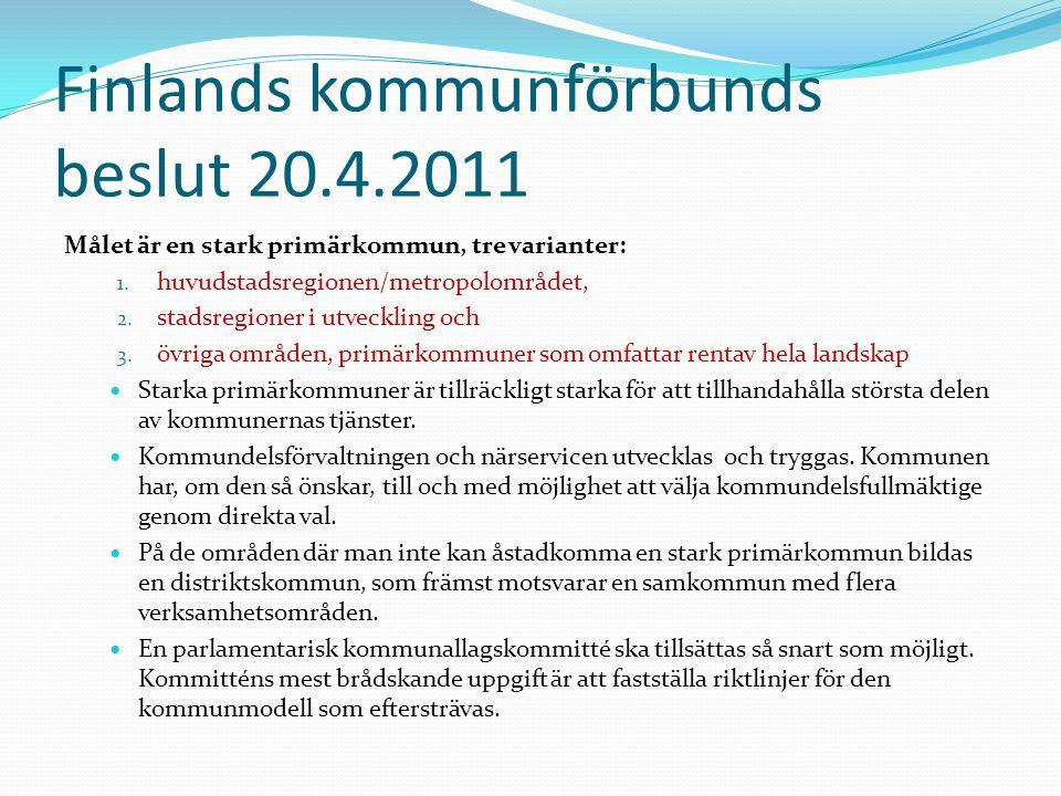 Finlands kommunförbunds beslut 20.4.2011 Målet är en stark primärkommun, tre varianter: 1.