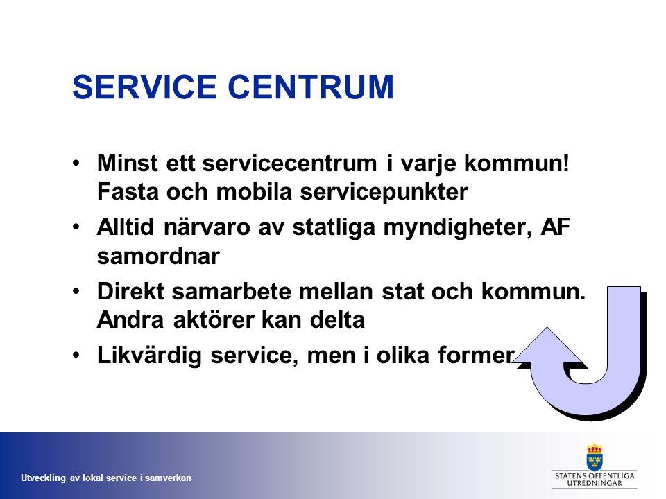 Utveckling av lokal service i samverkan SERVICE CENTRUM Minst ett servicecentrum i varje kommun! Fasta och mobila servicepunkter Alltid närvaro av sta