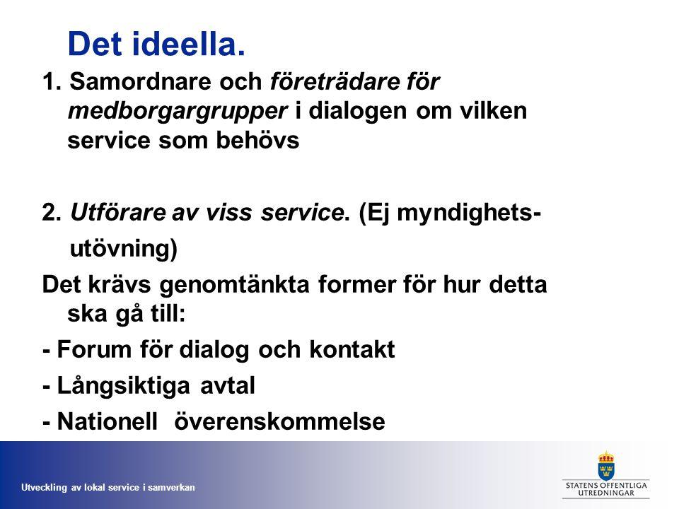 Utveckling av lokal service i samverkan Det ideella. 1. Samordnare och företrädare för medborgargrupper i dialogen om vilken service som behövs 2. Utf