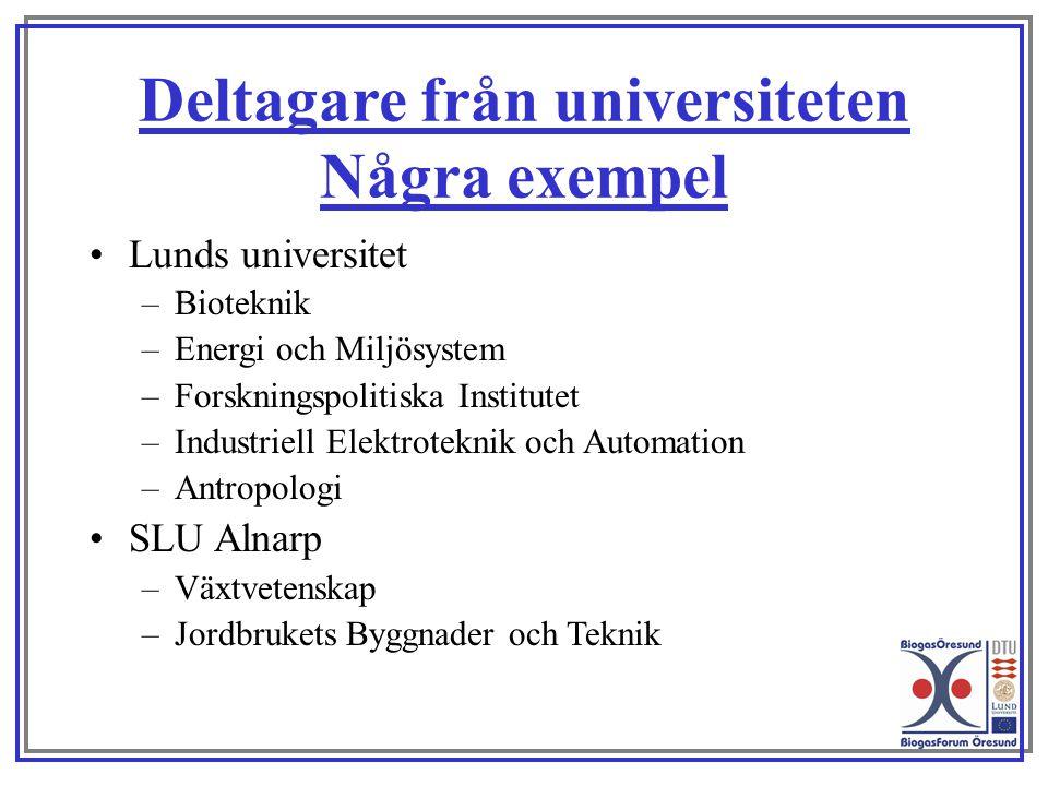 Deltagare från universiteten Några exempel Lunds universitet –Bioteknik –Energi och Miljösystem –Forskningspolitiska Institutet –Industriell Elektrote