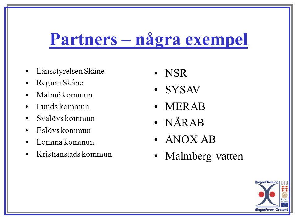 Partners – några exempel Länsstyrelsen Skåne Region Skåne Malmö kommun Lunds kommun Svalövs kommun Eslövs kommun Lomma kommun Kristianstads kommun NSR