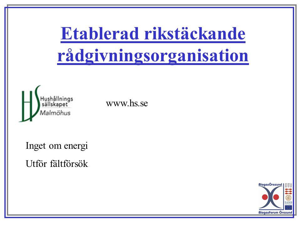 Etablerad rikstäckande rådgivningsorganisation www.hs.se Inget om energi Utför fältförsök