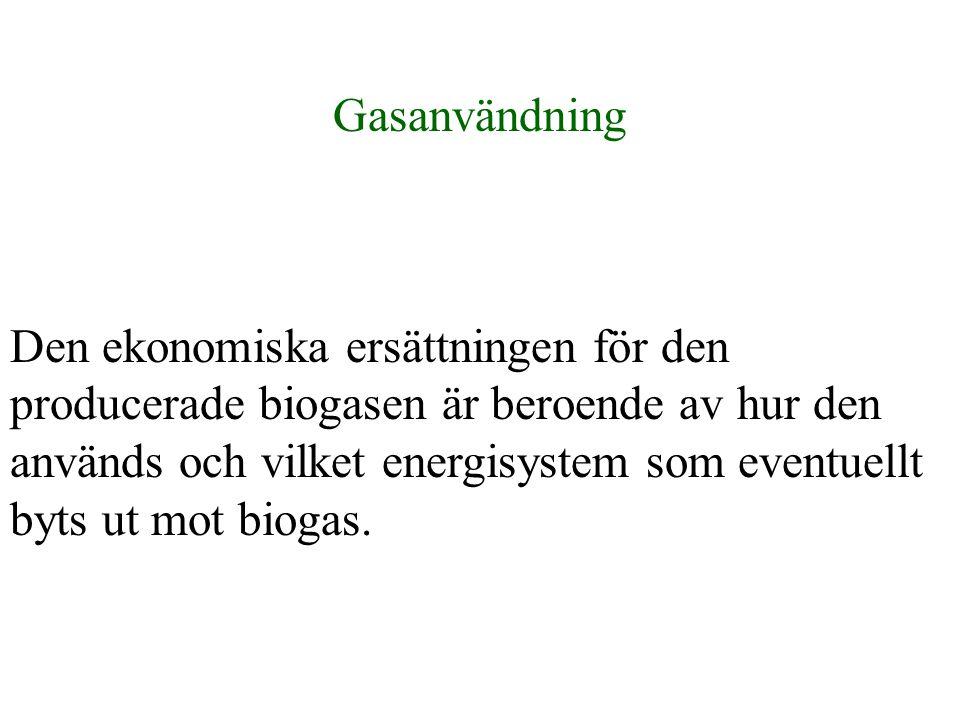 Gasanvändning Den ekonomiska ersättningen för den producerade biogasen är beroende av hur den används och vilket energisystem som eventuellt byts ut m