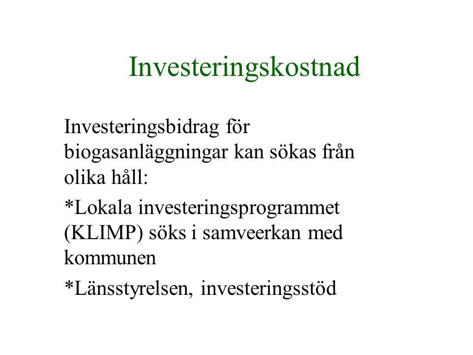 Investeringskostnad Investeringsbidrag för biogasanläggningar kan sökas från olika håll: *Lokala investeringsprogrammet (KLIMP) söks i samveerkan med