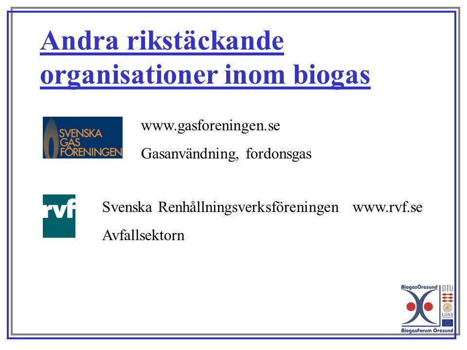 www.gasforeningen.se Gasanvändning, fordonsgas Andra rikstäckande organisationer inom biogas Svenska Renhållningsverksföreningen www.rvf.se Avfallsekt