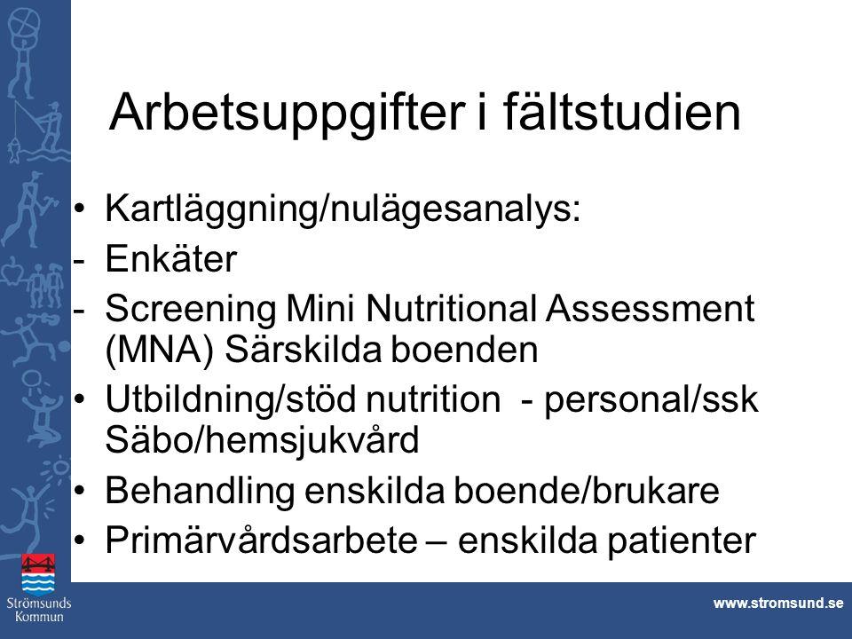 www.stromsund.se Arbetsuppgifter i fältstudien Kartläggning/nulägesanalys: -Enkäter -Screening Mini Nutritional Assessment (MNA) Särskilda boenden Utb