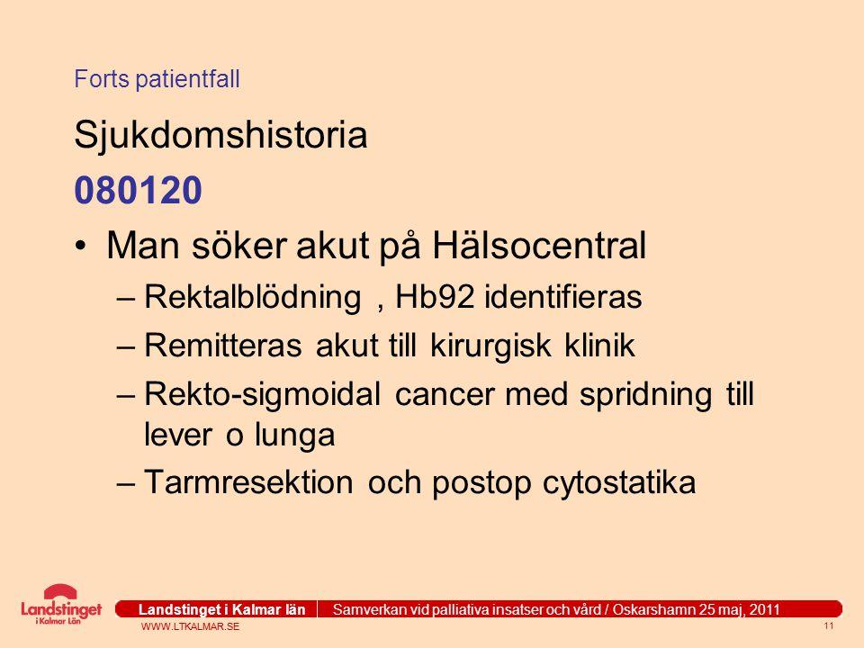 WWW.LTKALMAR.SE Landstinget i Kalmar län Samverkan vid palliativa insatser och vård / Oskarshamn 25 maj, 2011 WWW.LTKALMAR.SE Landstinget i Kalmar län Samverkan vid palliativa insatser och vård / Oskarshamn 25 maj, 2011 11 Forts patientfall Sjukdomshistoria 080120 Man söker akut på Hälsocentral –Rektalblödning, Hb92 identifieras –Remitteras akut till kirurgisk klinik –Rekto-sigmoidal cancer med spridning till lever o lunga –Tarmresektion och postop cytostatika