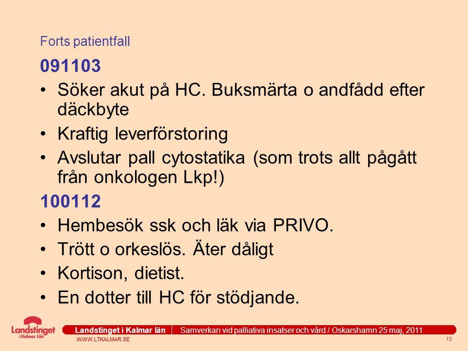 WWW.LTKALMAR.SE Landstinget i Kalmar län Samverkan vid palliativa insatser och vård / Oskarshamn 25 maj, 2011 WWW.LTKALMAR.SE Landstinget i Kalmar län Samverkan vid palliativa insatser och vård / Oskarshamn 25 maj, 2011 13 Forts patientfall 091103 Söker akut på HC.