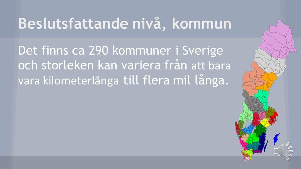 Beslutsfattande nivå, kommun Det finns ca 290 kommuner i Sverige och storleken kan variera från att bara vara kilometerlånga till flera mil långa.