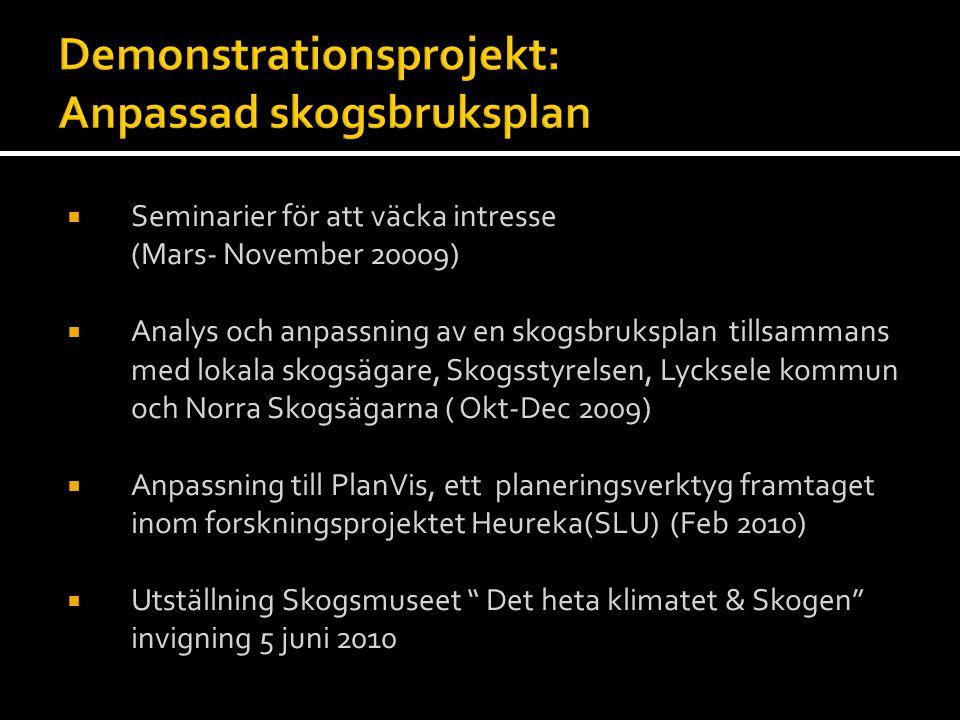  Seminarier för att väcka intresse (Mars- November 20009)  Analys och anpassning av en skogsbruksplan tillsammans med lokala skogsägare, Skogsstyrel
