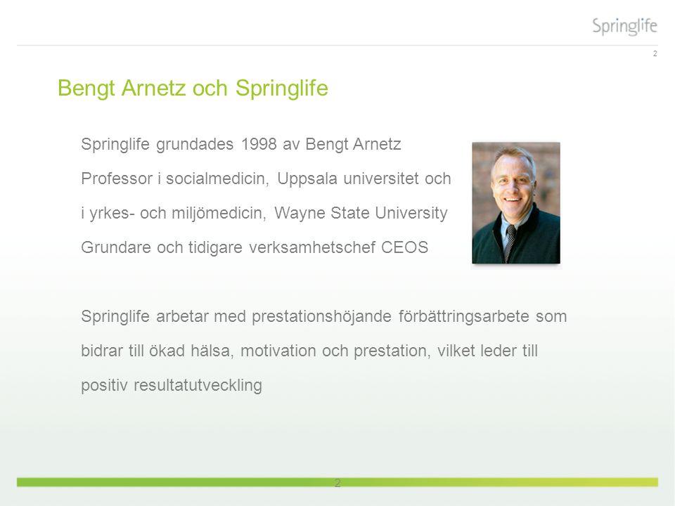 2 Bengt Arnetz och Springlife Springlife grundades 1998 av Bengt Arnetz Professor i socialmedicin, Uppsala universitet och i yrkes- och miljömedicin, Wayne State University Grundare och tidigare verksamhetschef CEOS Springlife arbetar med prestationshöjande förbättringsarbete som bidrar till ökad hälsa, motivation och prestation, vilket leder till positiv resultatutveckling 2