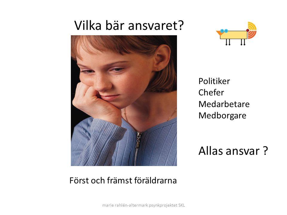 marie rahlén-altermark psynkprojektet SKL Vilka bär ansvaret? Först och främst föräldrarna Politiker Chefer Medarbetare Medborgare Allas ansvar ?