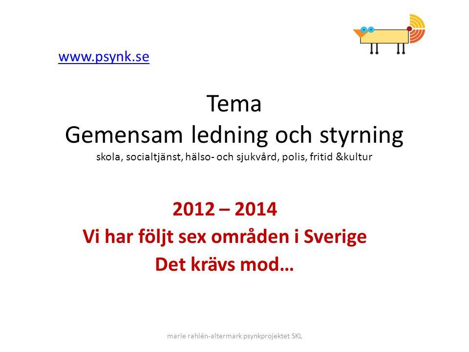 Tema Gemensam ledning och styrning skola, socialtjänst, hälso- och sjukvård, polis, fritid &kultur 2012 – 2014 Vi har följt sex områden i Sverige Det