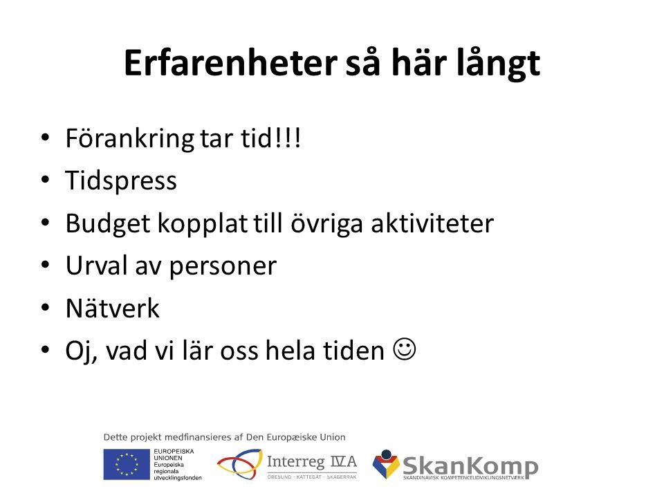 2011 Kompetensmäklarutbildning (aktivitet 1.2) Studiebesök (från Norge och Danmark) Gemensam K-dag 15 juni (400 personer Thn) Vad förväntar sig våra projektpartners.