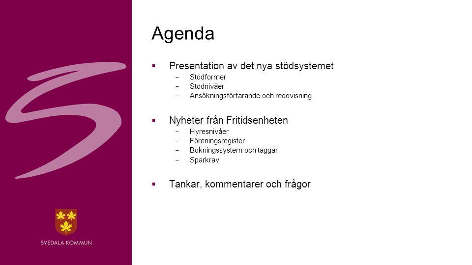 2 Agenda  Presentation av det nya stödsystemet  Stödformer  Stödnivåer  Ansökningsförfarande och redovisning  Nyheter från Fritidsenheten  Hyresnivåer  Föreningsregister  Bokningssystem och taggar  Sparkrav  Tankar, kommentarer och frågor