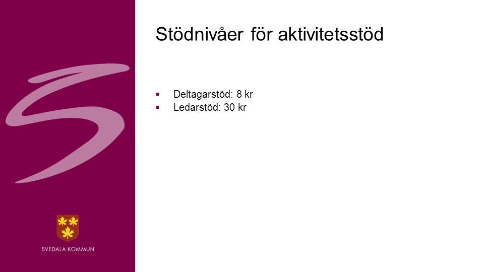 5 Stödnivåer för aktivitetsstöd  Deltagarstöd: 8 kr  Ledarstöd: 30 kr