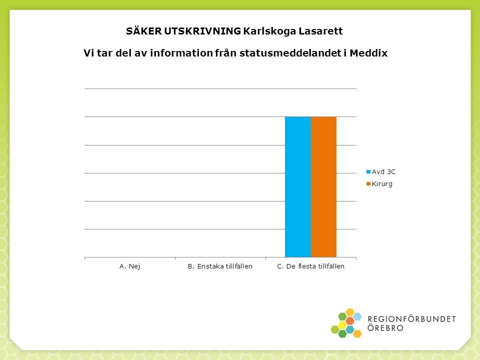 SÄKER UTSKRIVNING Karlskoga Lasarett Vi tar del av information från statusmeddelandet i Meddix
