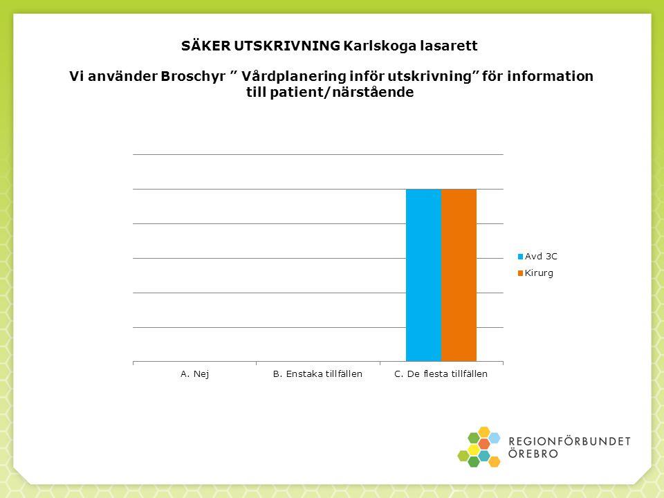 SÄKER UTSKRIVNING Karlskoga lasarett Vi använder Broschyr Vårdplanering inför utskrivning för information till patient/närstående