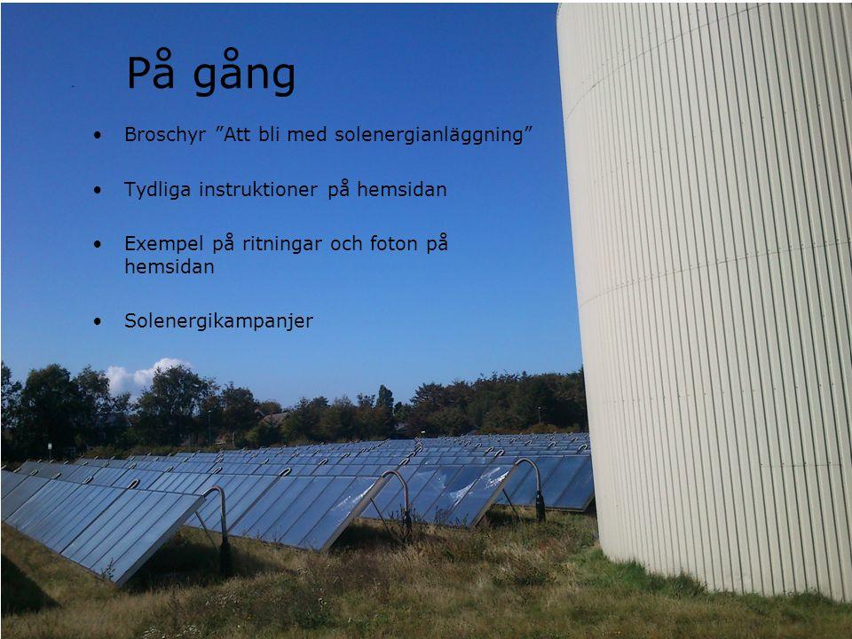 På gång Broschyr Att bli med solenergianläggning Tydliga instruktioner på hemsidan Exempel på ritningar och foton på hemsidan Solenergikampanjer