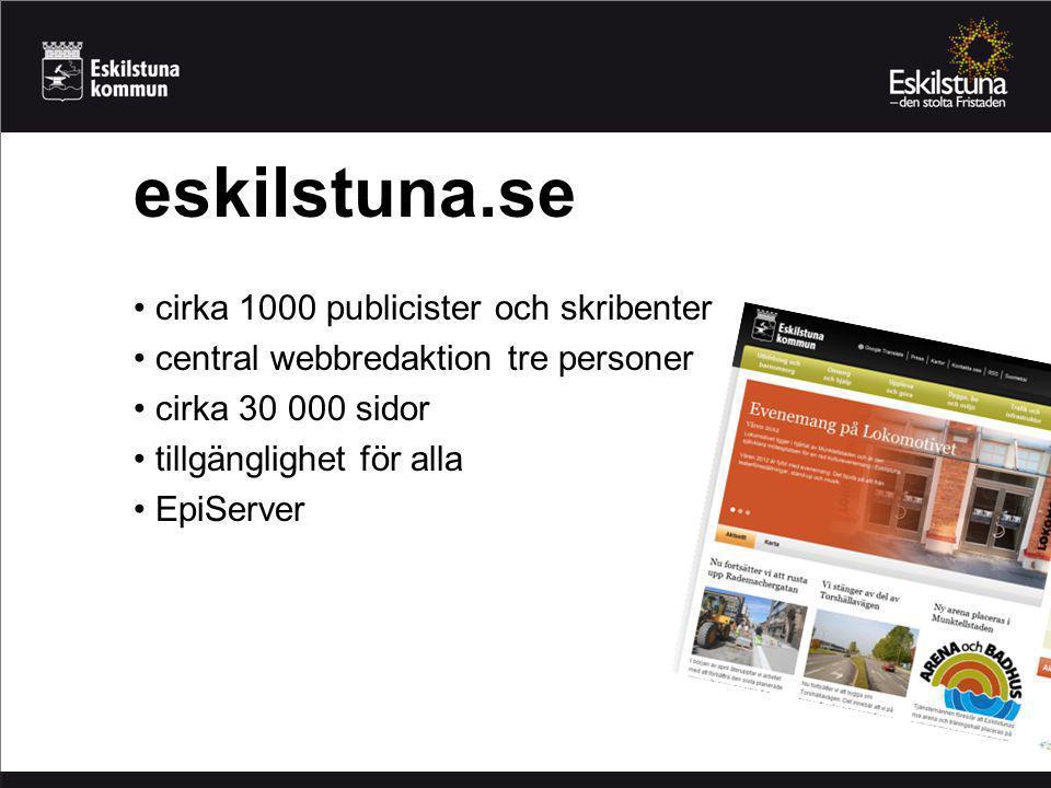 cirka 1000 publicister och skribenter central webbredaktion tre personer cirka 30 000 sidor tillgänglighet för alla EpiServer eskilstuna.se