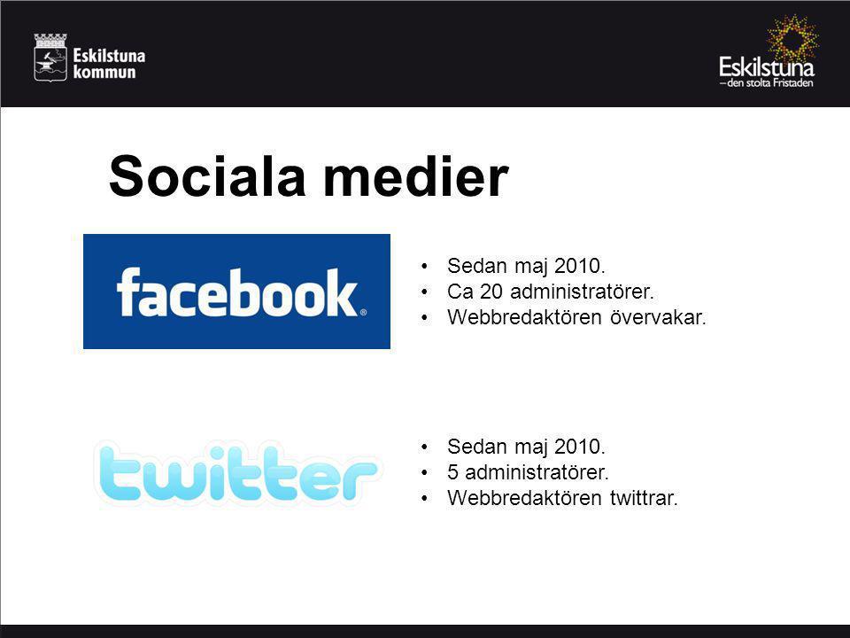 Sociala medier Sedan maj 2010. Ca 20 administratörer.