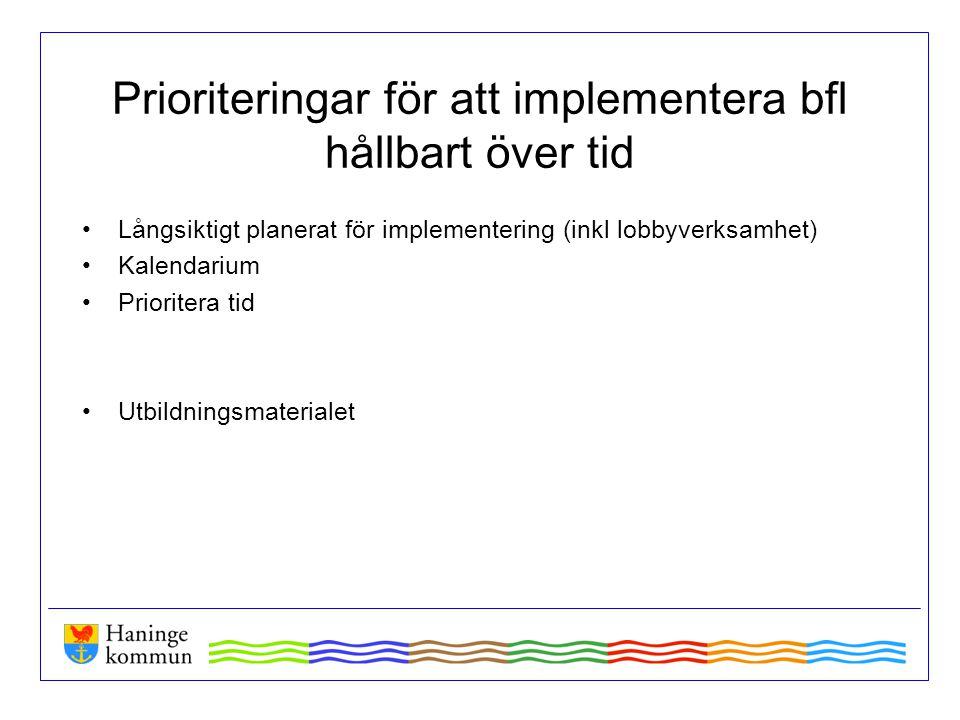 Prioriteringar för att implementera bfl hållbart över tid Långsiktigt planerat för implementering (inkl lobbyverksamhet) Kalendarium Prioritera tid Ut