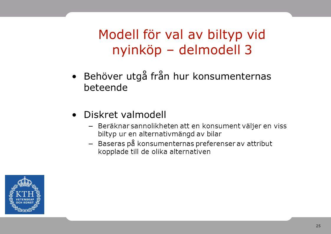 25 Modell för val av biltyp vid nyinköp – delmodell 3 Behöver utgå från hur konsumenternas beteende Diskret valmodell −Beräknar sannolikheten att en k