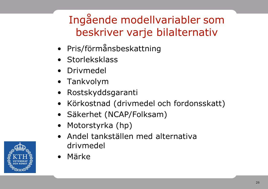 26 Ingående modellvariabler som beskriver varje bilalternativ Pris/förmånsbeskattning Storleksklass Drivmedel Tankvolym Rostskyddsgaranti Körkostnad (