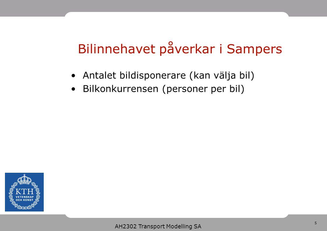 5 Bilinnehavet påverkar i Sampers Antalet bildisponerare (kan välja bil) Bilkonkurrensen (personer per bil) AH2302 Transport Modelling SA