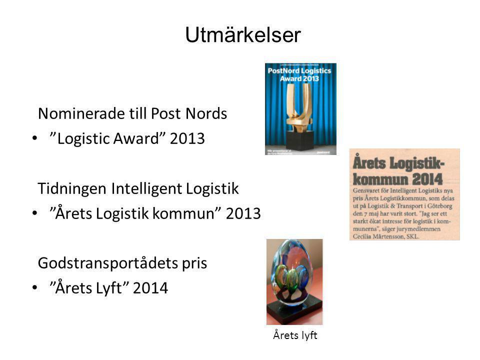 """Utmärkelser Nominerade till Post Nords """"Logistic Award"""" 2013 Tidningen Intelligent Logistik """"Årets Logistik kommun"""" 2013 Godstransportådets pris """"Året"""