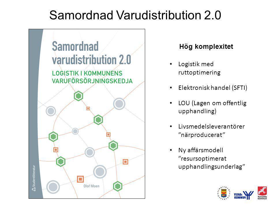 Samordnad Varudistribution 2.0 Hög komplexitet Logistik med ruttoptimering Elektronisk handel (SFTI) LOU (Lagen om offentlig upphandling) Livsmedelsleverantörer närproducerat Ny affärsmodell resursoptimerat upphandlingsunderlag