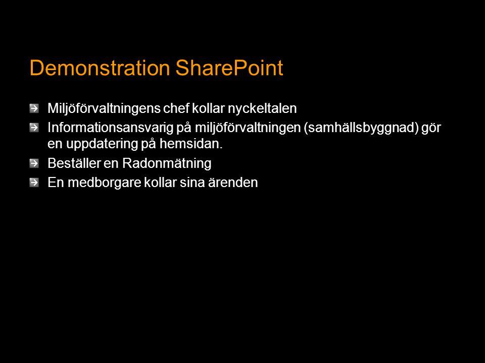 Demonstration SharePoint Miljöförvaltningens chef kollar nyckeltalen Informationsansvarig på miljöförvaltningen (samhällsbyggnad) gör en uppdatering på hemsidan.