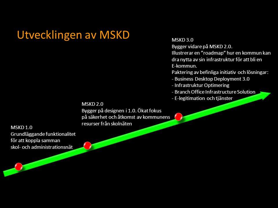 Utvecklingen av MSKD MSKD 1.0 Grundläggande funktionalitet för att koppla samman skol- och administrationsnät MSKD 2.0 Bygger på designen i 1.0. Ökat