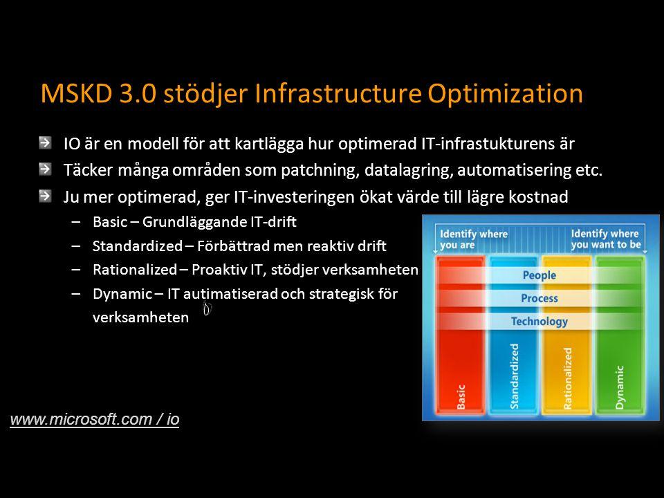 MSKD 3.0 stödjer Infrastructure Optimization IO är en modell för att kartlägga hur optimerad IT-infrastukturens är Täcker många områden som patchning, datalagring, automatisering etc.