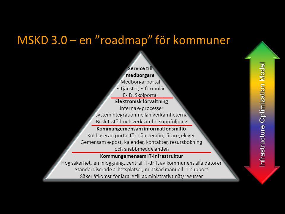 """MSKD 3.0 – en """"roadmap"""" för kommuner Kommungemensam IT-infrastruktur Hög säkerhet, en inloggning, central IT-drift av kommunens alla datorer Standardi"""