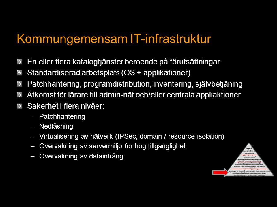 Kommungemensam IT-infrastruktur En eller flera katalogtjänster beroende på förutsättningar Standardiserad arbetsplats (OS + applikationer) Patchhantering, programdistribution, inventering, självbetjäning Åtkomst för lärare till admin-nät och/eller centrala appliaktioner Säkerhet i flera nivåer: –Patchhantering –Nedlåsning –Virtualisering av nätverk (IPSec, domain / resource isolation) –Övervakning av servermiljö för hög tillgänglighet –Övervakning av dataintrång