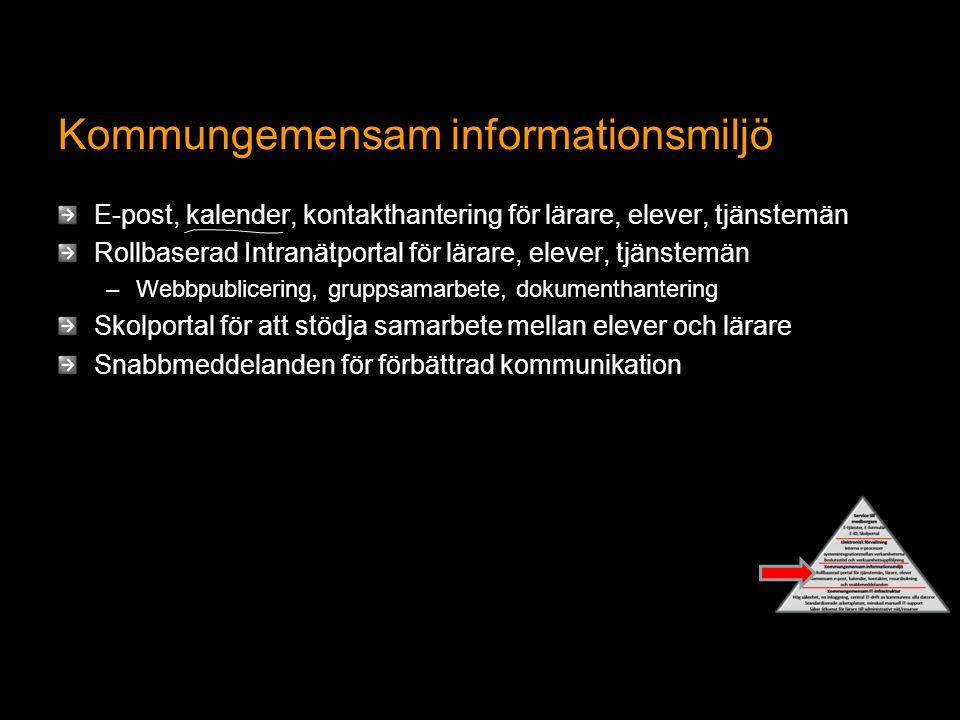 Kommungemensam informationsmiljö E-post, kalender, kontakthantering för lärare, elever, tjänstemän Rollbaserad Intranätportal för lärare, elever, tjän