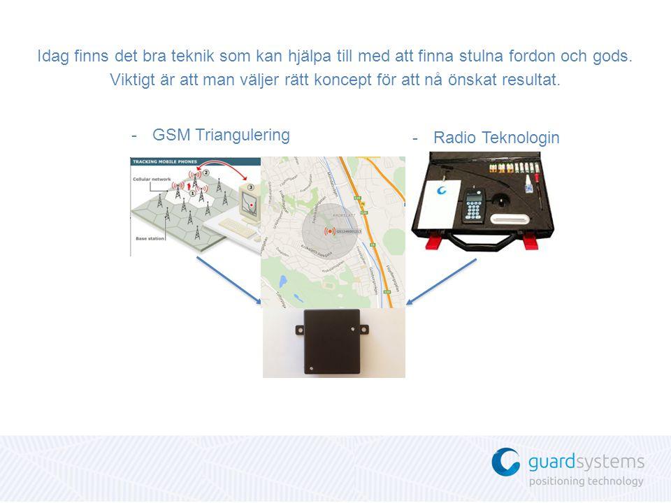 -GSM Triangulering Idag finns det bra teknik som kan hjälpa till med att finna stulna fordon och gods.
