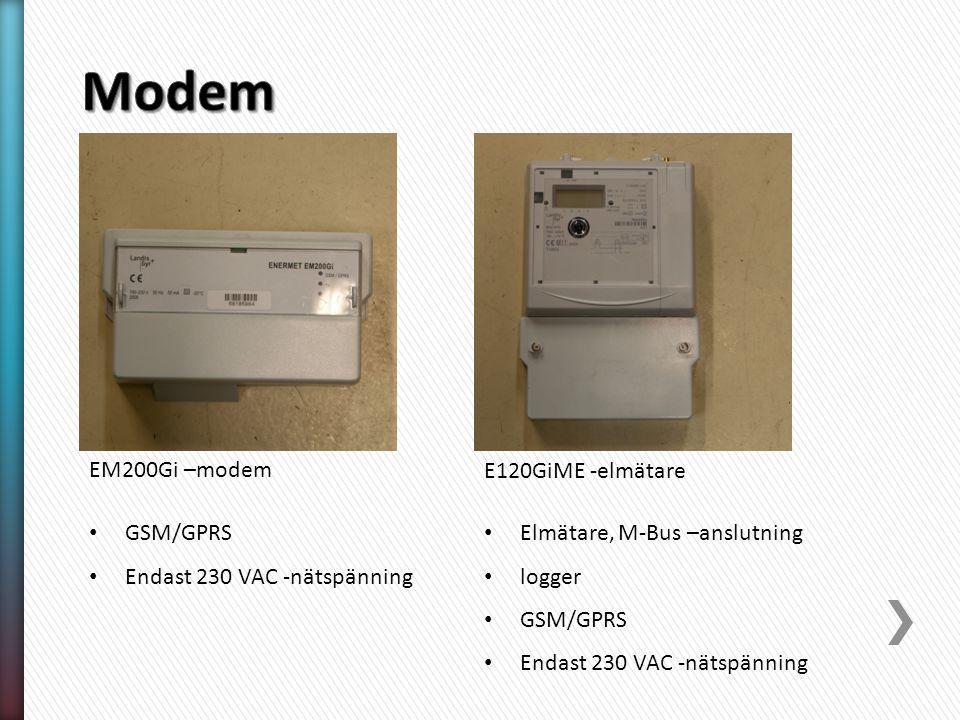 GSM/GPRS Endast 230 VAC -nätspänning EM200Gi –modem E120GiME -elmätare Elmätare, M-Bus –anslutning logger GSM/GPRS Endast 230 VAC -nätspänning