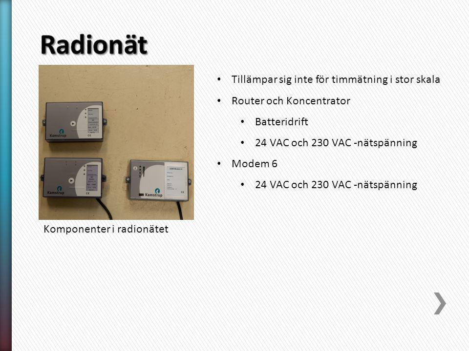 Komponenter i radionätet Tillämpar sig inte för timmätning i stor skala Router och Koncentrator Batteridrift 24 VAC och 230 VAC -nätspänning Modem 6 24 VAC och 230 VAC -nätspänning