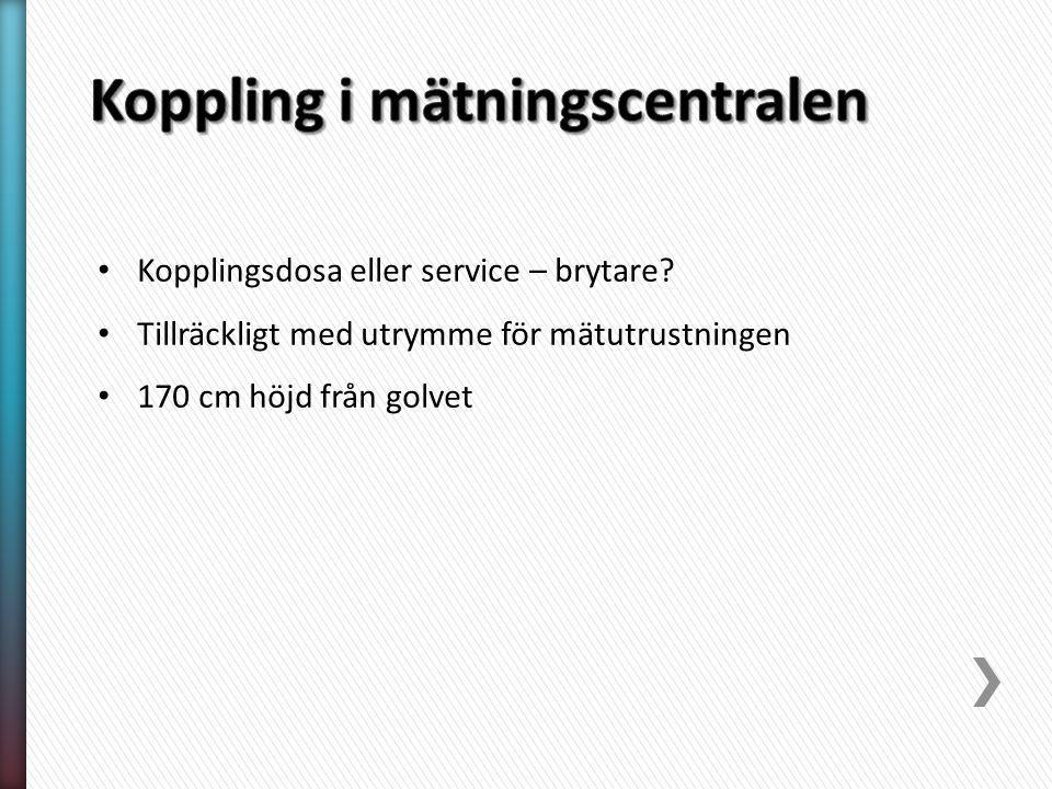 Kopplingsdosa eller service – brytare.