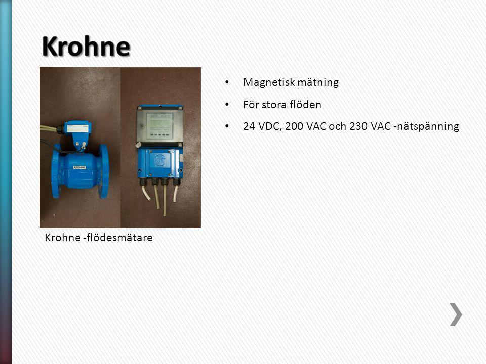 Krohne -flödesmätare Magnetisk mätning För stora flöden 24 VDC, 200 VAC och 230 VAC -nätspänning