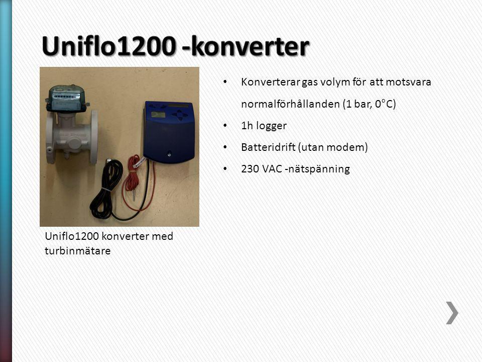 Uniflo1200 konverter med turbinmätare Konverterar gas volym för att motsvara normalförhållanden (1 bar, 0°C) 1h logger Batteridrift (utan modem) 230 V