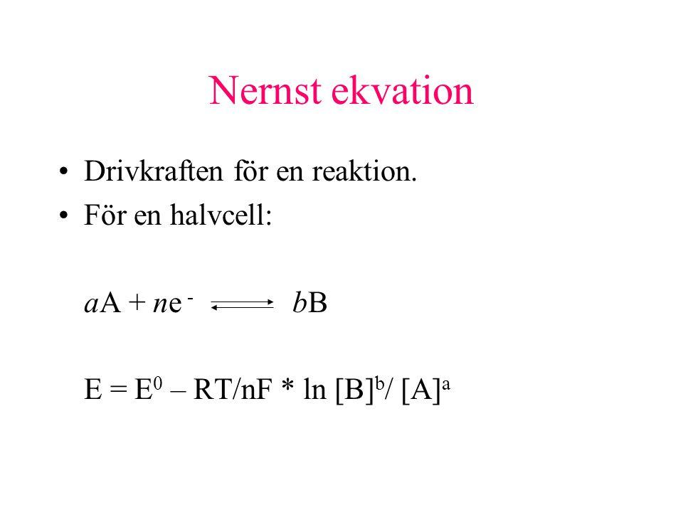 Nernst ekvation Drivkraften för en reaktion.