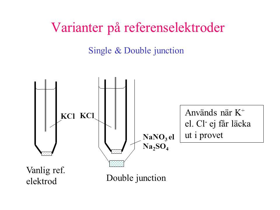 Varianter på referenselektroder Single & Double junction Vanlig ref.