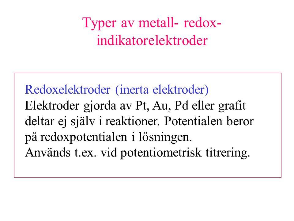 Typer av metall- redox- indikatorelektroder Redoxelektroder (inerta elektroder) Elektroder gjorda av Pt, Au, Pd eller grafit deltar ej själv i reaktioner.